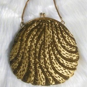 Vintage Beaded Gold Tone Purse Made in Hong Kong